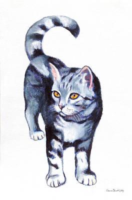 Animals Paintings - Blue tabby kitten with orange eyes by Deanna Yildiz