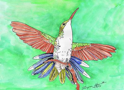 Jamaican Painting - Blue Tail Humming Bird by Dwayne Hamilton