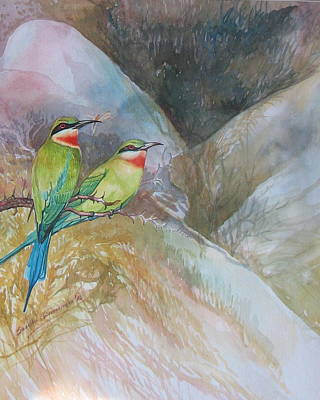 Sri Lankan Artist Painting - Blue-tailed Bee-eater by Sasitha Weerasinghe
