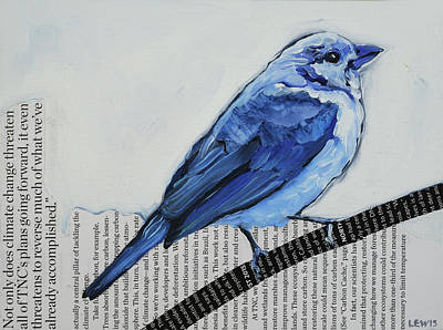 Mixed Media - Blue Tanager by Anne Lewis