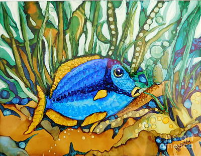 Fish On A Reef Painting - Blue Tang by Joan Clear