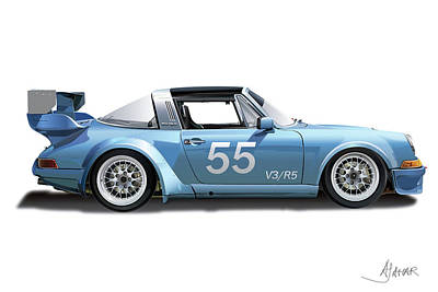Blue Targa Art Print by Alain Jamar