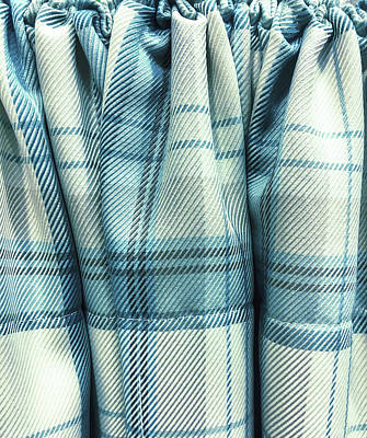 Checked Tablecloths Photograph - Blue Tartan Fabric by Tom Gowanlock
