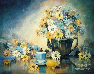 Teapot Painting - Blue Teacup And Lemon by JoAnne Corpany