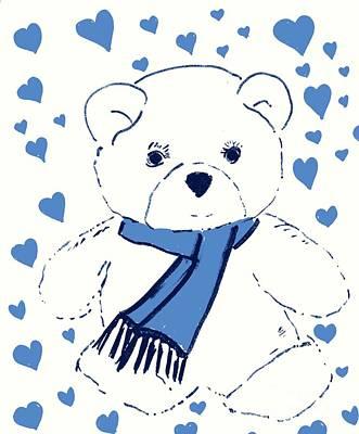 Blue Teddy Bear Love Art Print