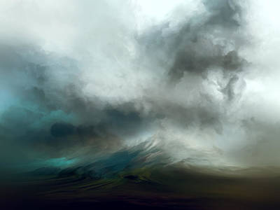Abstract Landscape Painting - Blue Tempest by Lonnie Christopher