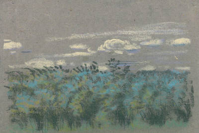 Pastel - Blue Thicket by Arthur Bowen Davies