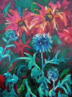 Blue Thistle And Bee Balm Art Print