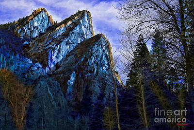 Photograph - Blue Three Brothers Yosemite  by Blake Richards
