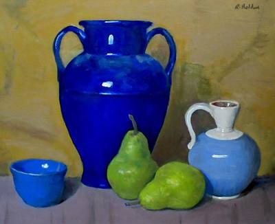 Painting - Blue Three Times With Pears by Robert Holden