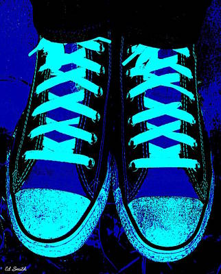 Foot Wear Digital Art - Blue-tiful by Ed Smith