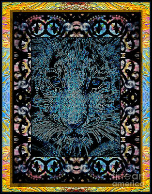 Montage Mixed Media - Blue Tiger Montage by Wbk