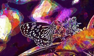Digital Art - Blue Tiger Tirumala Hamata Butterfly  by PixBreak Art