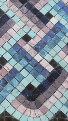 Photograph - Blue Tile Mosaic  by Karen J Shine