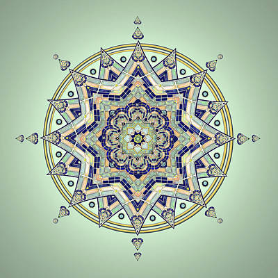 Drawing - Blue Tile Star Mandala by Deborah Smith