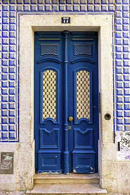 Photograph - Blue Tiles Door Lisbon Souvenirs by For Ninety One Days