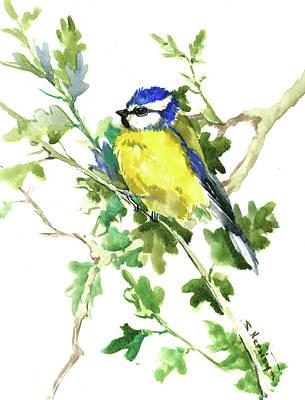 Painting - Blue Tit On Oak Tree by Suren Nersisyan