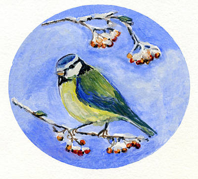 Painting - Blue Tit With Winter Berries. by Wendy Le Ber