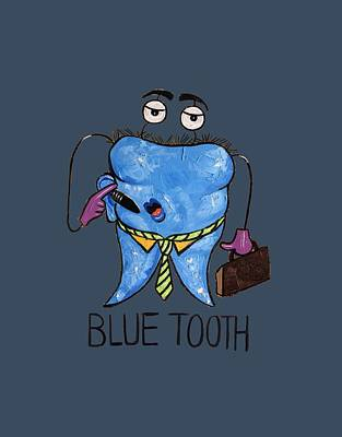 Blue Tooth Print by Anthony Falbo
