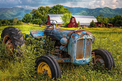 Blue Tractor At The Twin Barns Art Print