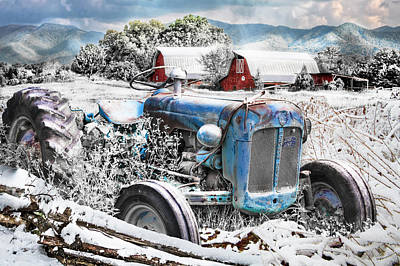 Photograph - Blue Tractor At The Twin Barns In Snow by Debra and Dave Vanderlaan