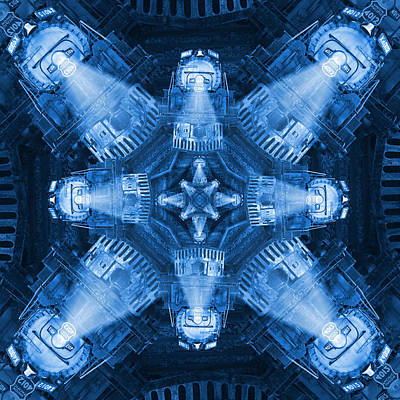 Blue Train Abstract 4 Art Print