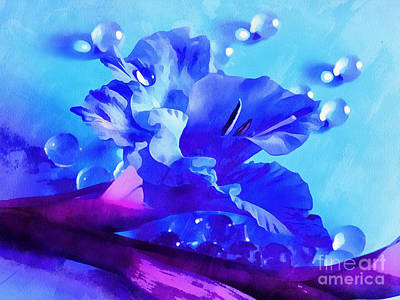 Abstract Flower Photograph - Blue Treasure by Krissy Katsimbras