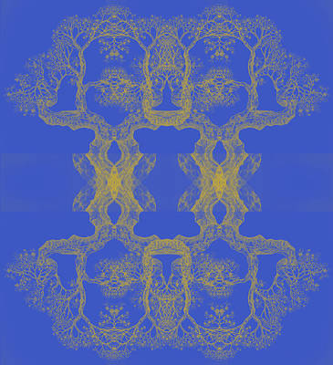 Digital Art - Blue Tree 14 Hybrid 4 by Brian Kirchner
