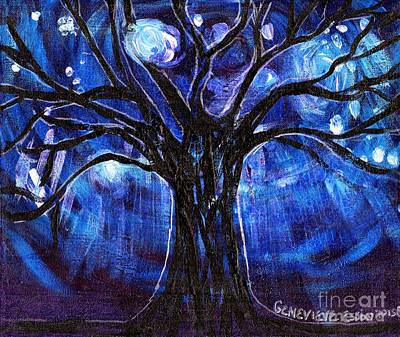 Blue Tree At Night Art Print