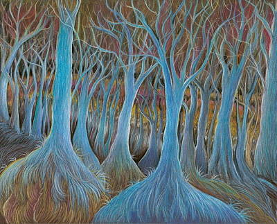 Drawing - Blue Tree Forest by Jude Cowell