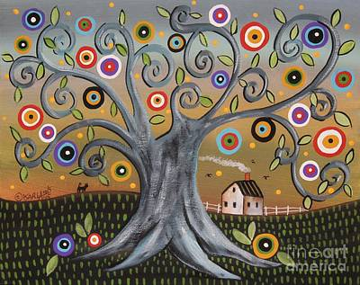 Folk Art Painting - Blue Tree by Karla Gerard