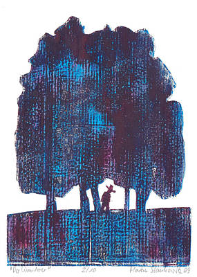 Painting - Blue Tree Landscape With Wanderer, by Martin Stankewitz