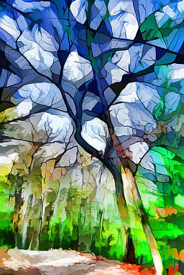Impressionism Digital Art - Blue Tree by Lilia D