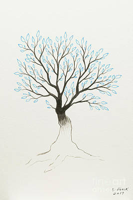 Painting - Blue Tree by Stefanie Forck