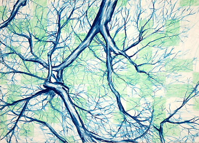 Blue Tree With Green Sky Art Print by John Terwilliger