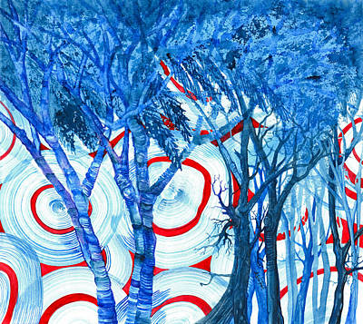 Painting - Blue Trees And Core Samples by Adria Trail