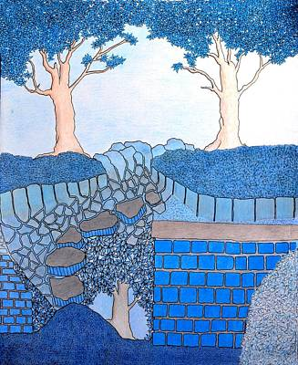 Drawing - Blue Trees by Gregory Carrico