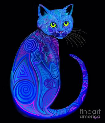 Digital Art - Blue Tribal Cat by Nick Gustafson