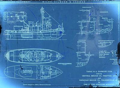 Digital Art - Blue Tugboat Blueprints by Joseph Hawkins