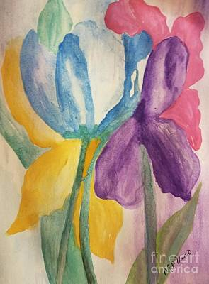 Painting - Blue Tulip And Iris Abstract by Maria Urso