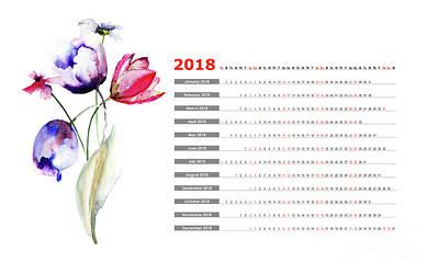 Mixed Media - Blue Tulips Flowers by Regina Jershova