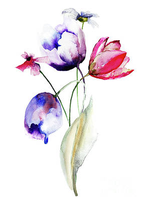 Blue Tulips Flowers With Wild Flowers Art Print