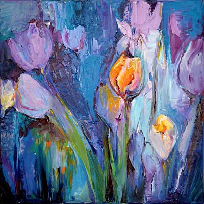Pallet Knife Painting - Blue Tulips Modern Painting Flower Oil Painting, Floral Painting by Soos Roxana Gabriela