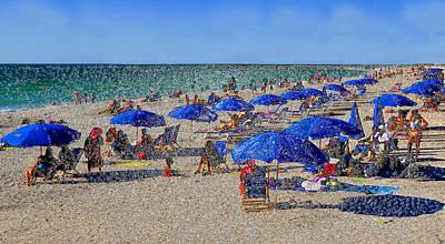 Blue Umbrella  Beach Art Print by David Lee Thompson