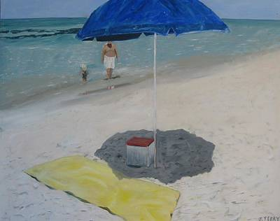 Blue Umbrella Art Print by John Terry