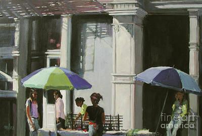 Blue Umbrellas Art Print by Patti Mollica