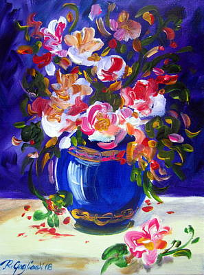 Painting - Blue Vase And Fresh Flowers by Roberto Gagliardi