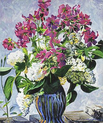 Painting -  Blue Vase Arrangement by David Lloyd Glover