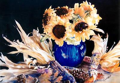 Cornstalks Painting - Blue Vase by Carol Scott
