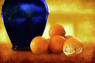 Photograph - Blue Vase - Clementines by Nikolyn McDonald